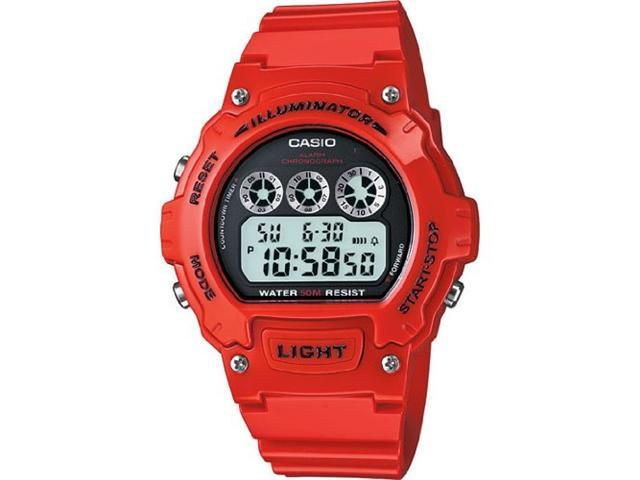 Casio #W214HC-4AV Men's Red Chronograph Alarm LCD Digital Sports Watch