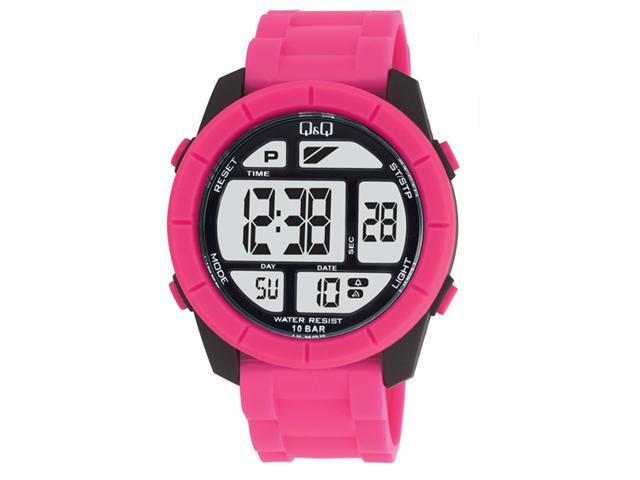 Q&Q #M123J003Y Men's Big Size Colorful Hot Pink Chrono Alarm Digital Watch