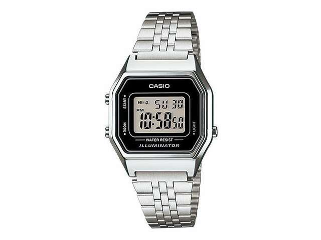Casio LA-680WA-1 Women's Vintage Silver Tone Chronograph Alarm Digital Watch
