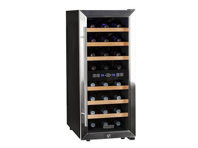 Koldfront 24 Bottle Free Standing Dual Zone Wine Cooler - Black and Stainless Steel