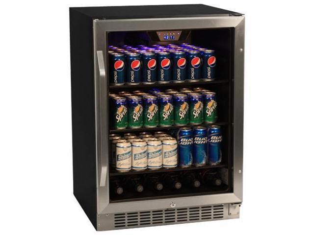 EdgeStar 148 Can Stainless Steel Beverage Cooler - Black/Stainless Steel