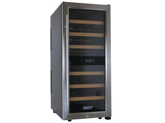 Koldfront 24 Bottle Free Standing Single Zone Wine Cooler - Black and Stainless Steel