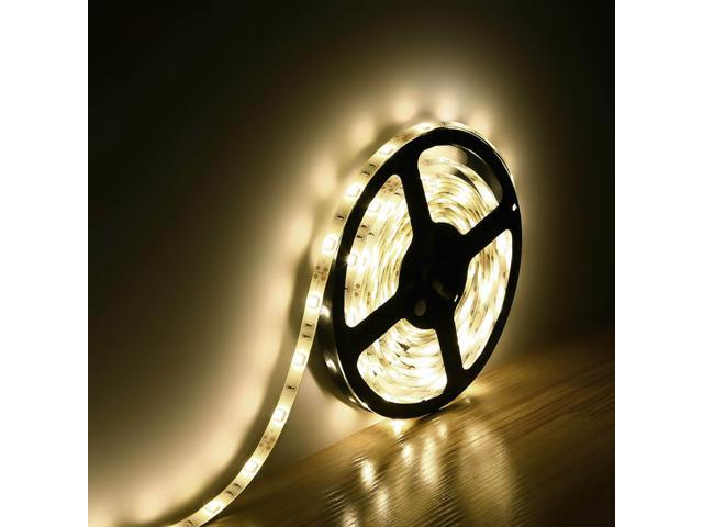 LE Lampux 12V Flexible Waterproof LED Strip Lights, Warm White, 150 Units 5050 LEDs, Light Strips, Pack of 5M