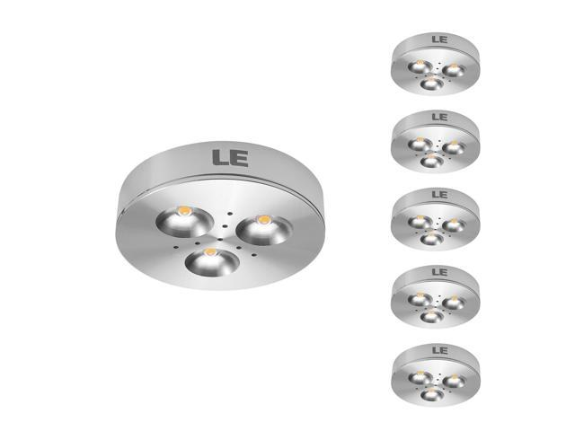 LE Brightest 3W LED Under Cabinet Lighting, Puck Lights, 25W Halogen Replacement, Warm White, Pack of 5 units