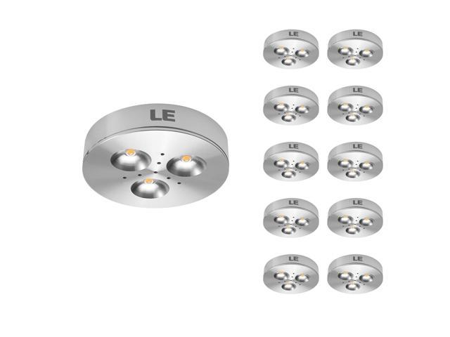 LE Brightest 3W LED Under Cabinet Lighting, Puck Lights, 25W Halogen Replacement, Warm White, Pack of 10 Units