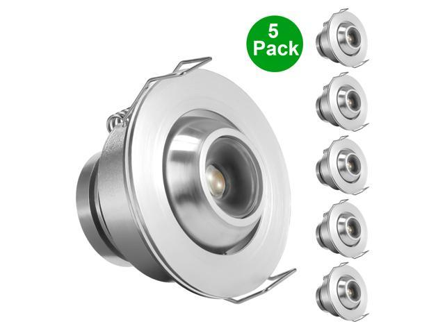 LE 1W LED Downlights, 10W Halogen Replacement, Recessed downlighting, Warm White, Pack of 5 units
