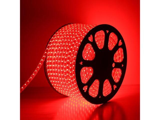 LE Lampux 110-120 V AC Flexible LED Strip Lights, LED Tape, Red, Waterproof, Super Bright 5050 LEDs, Light Strips, Pack of 50M
