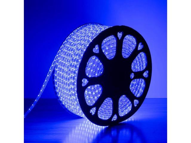 LE Lampux 110-120 V AC Flexible LED Strip Lights, LED Tape, Blue, Waterproof, 3528 LEDs, Light Strips, Pack of 50M