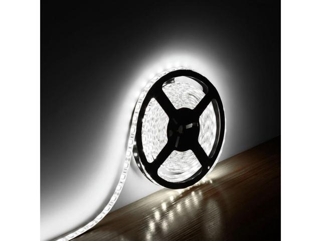 LE Lampux 12V Flexible Waterproof LED Strip Lights, Daylight White, Super Bright 300 Units 5050 LEDs, Light Strips, Pack of 5M