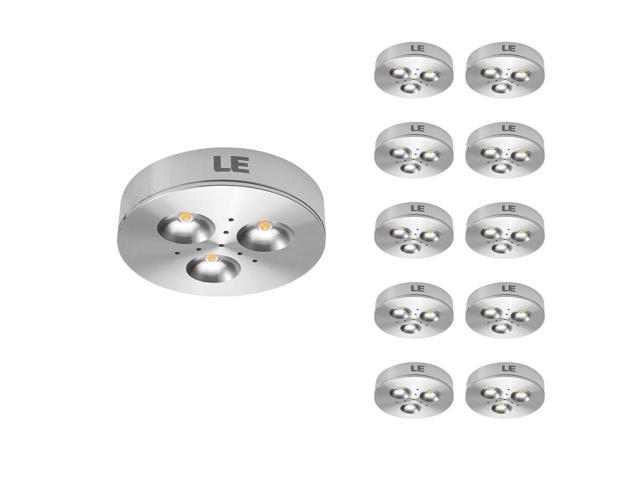 LE Brightest LED Under Cabinet Lighting, Puck Lights, 25W Halogen Replacement, Warm White, Pack of 10 Units