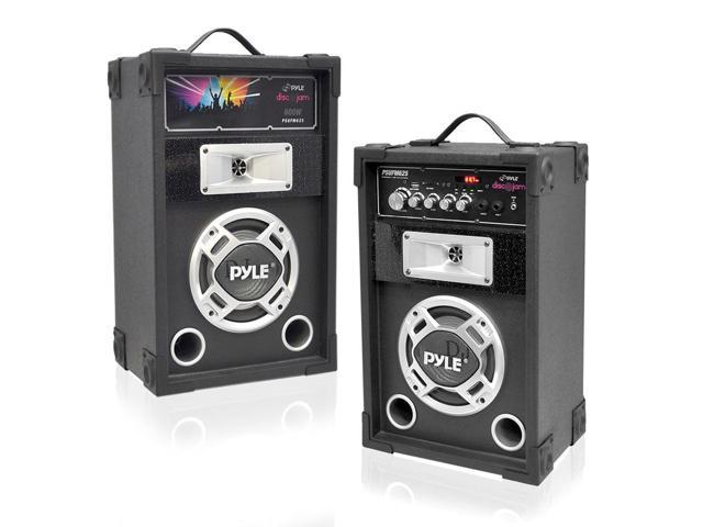Pyle PSUFM625 Dual 600 Watt Disco Jam Powered Two-Way PA Speaker System w/ USB/SD Readers, FM Radio, 3.5mm AUX Input for iPod/MP3 Players