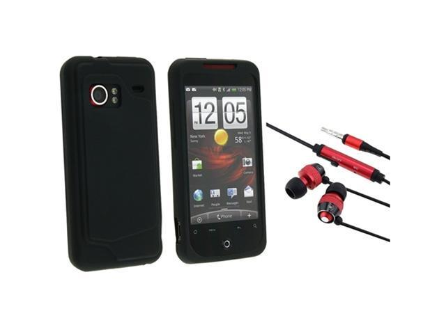 Red In-Ear Stereo Headset with Black Silicone soft Skin Case compatible with HTC Droid Incredible