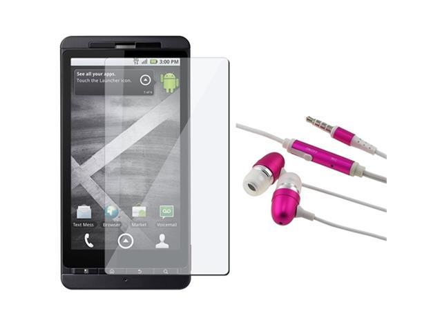 3.5Mm In-Ear Stereo Headset - Hot Pink W/ On-Off & Mic + Screen Lcd Shield compatible with Motorola Droid Xtreme Mb810 / Droid X