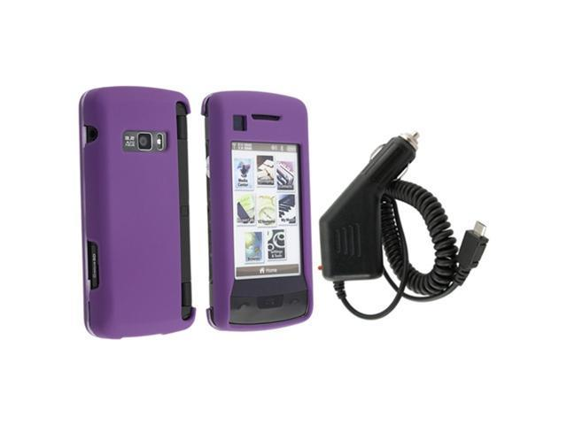 Dark Purple Snap-On Rubberized Case + Micro USB Car Charger compatible with LG Env Touch Vx11000