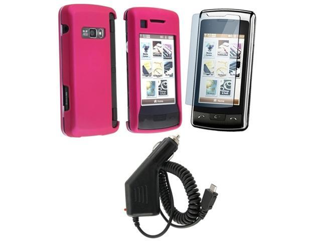 Hot Pink Snap-On Rubberized Case + Micro USB Car Charger compatible with LG Env Touch Vx11000