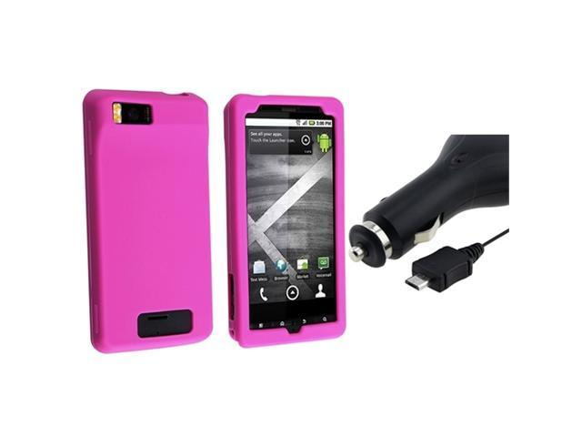 Hot Pink Silicone Soft Skin Case + Retractable Car Charger compatible with Motorola Droid X