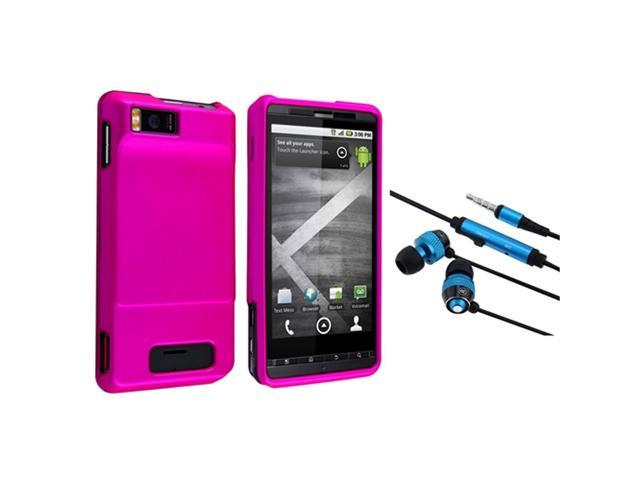 Insten Hot Pink defender Rubber Coated Case + Universal 3.5mm In-Ear Stereo Headset (Blue / Black) compatible with Motorola Droid X MB810