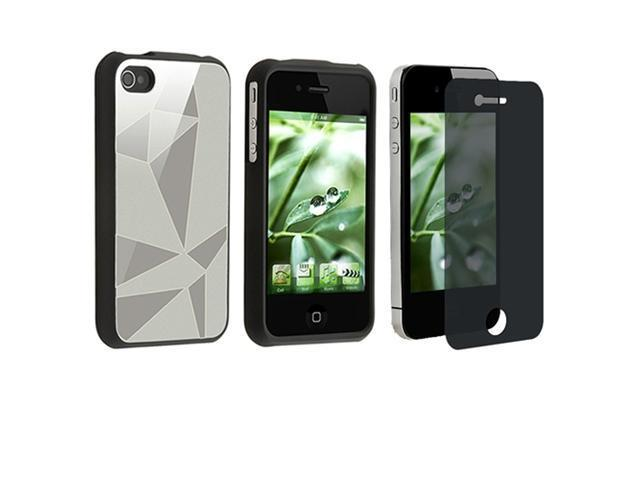 Silver Aluminum Flake Hard CASE+PRIVACY SCREEN FILTER Guard compatible with iPhone® 4 4S G