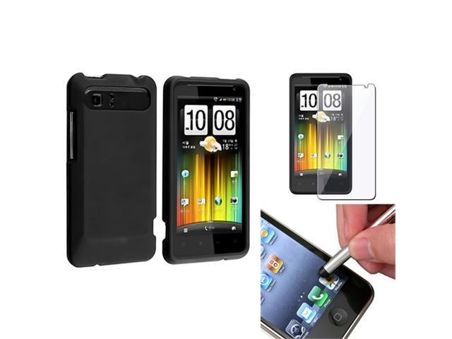Black Rubberized Hard Case Cover+Guard+Stylus compatible with HTC Raider 4G Holiday Vivid
