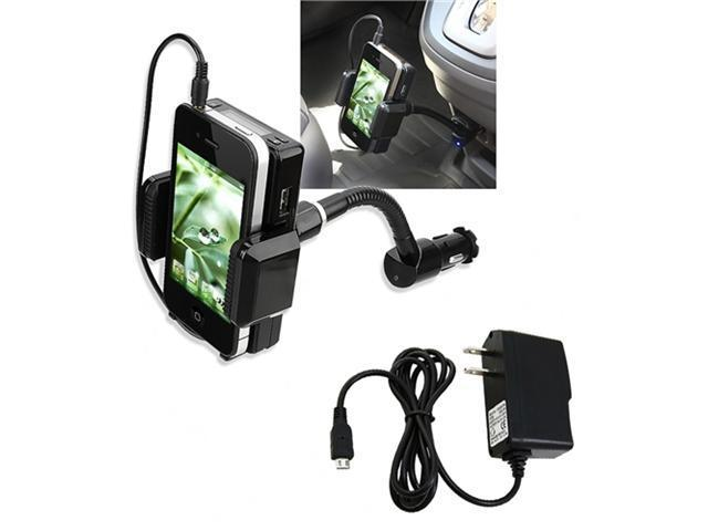 3.5mm FM Transmitter+Mic+USB Cable+AC Travel Wall Charger compatible with HTC EVO 4G