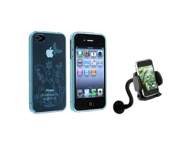 Blue Rubber Hydro Gel TPU Soft Case Skin Cover+Car Mount compatible with iPhone® 4 4G 4S