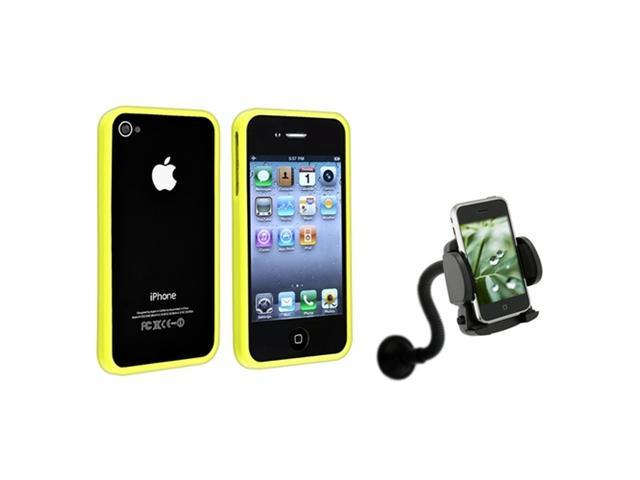 Yellow Bumper Rim Frame Case+Car Holder Mount compatible with iPhone® 4 4S 4th 16/32/64GB