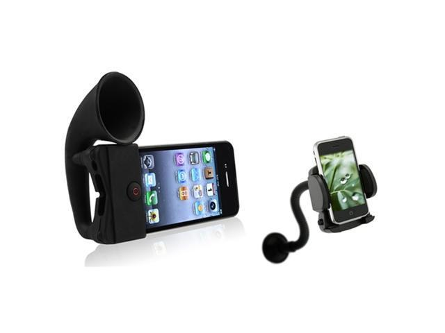 Black Silicone Horn Stand Speaker+Car Mount compatible with iPhone® 4 4S