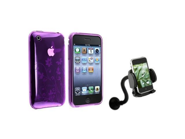 Purple Flower TPU Soft Gel Plastic Case Cover+Car Mount compatible with iPhone® 3GS 3G
