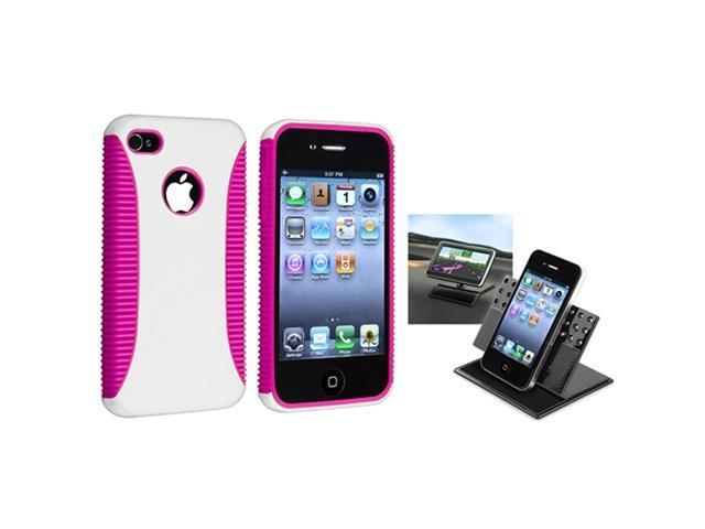 Pink TPU / White Hard Case Skin Cover+Car Dashboard Mount compatible with iPhone® 4 4th 4G 4S