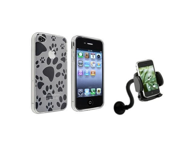 Dog Paw Foot Print TPU Soft Gel Plastic Case Cover+Car Mount compatible with iPhone® 4 4S