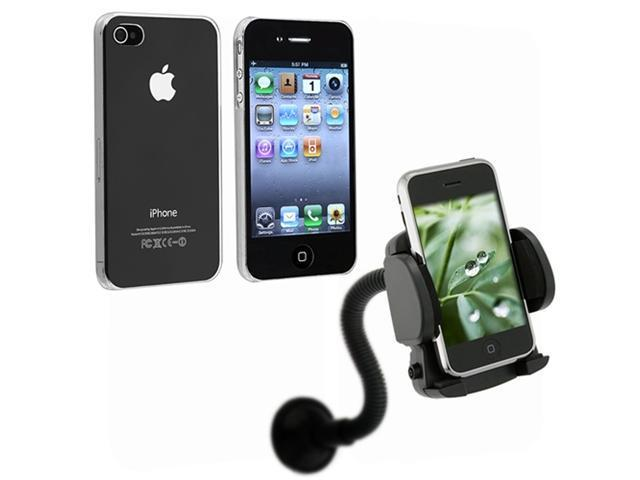 Clear Crystal Snap-On Back Plastic Hard Case Cover+Car Mount compatible with iPhone® 4 4G 4S