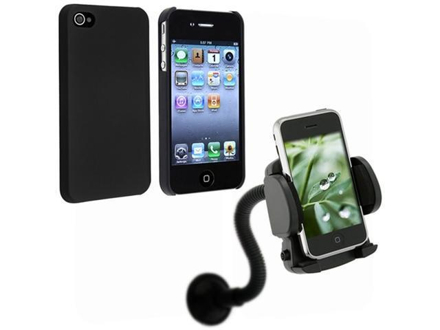 Black Snap-On Back Rubber Hard Case Cover+Car Holder Mount compatible with iPhone® 4 4G 4S