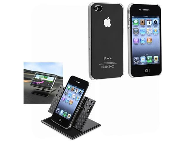 Clear Crystal Snap-On Back Hard Case+Car Dashboard Mount compatible with iPhone® 4 4G 4S