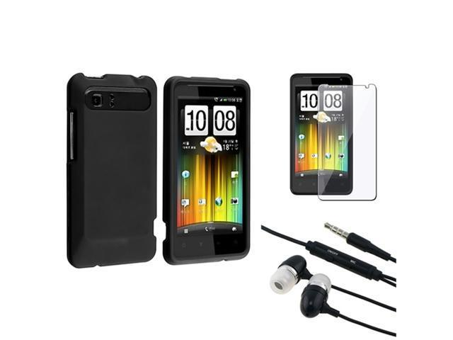 Black Rubber Hard Case+LCD SP Film+Headphone For HTC Raider 4G Holiday Vivid
