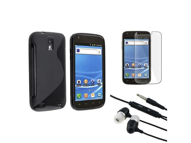 Black TPU Skin Case+LCD Protector+Headphone compatible with Samsung© Galaxy S2 T989 T-Mobile