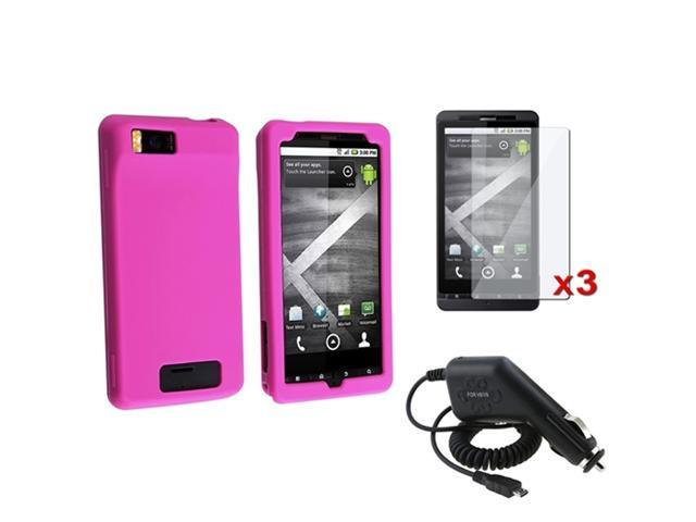 Pink Soft Case Cover+3x Screen Guard+Car Charger compatible with Motorola Droid X MB810