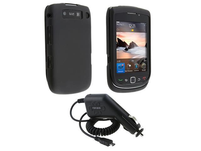 BLACK HARD CASE+CAR CHARGER compatible with BLACKBERRY 9810 TORCH