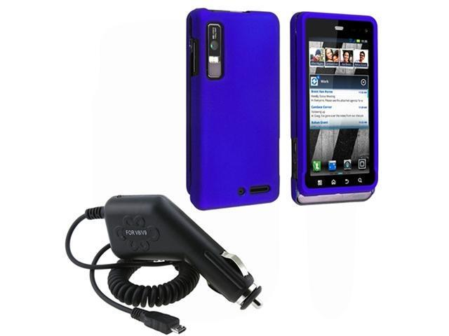 Dark Blue Snap-on Hard Phone Case Cover+Car Charger compatible with Motorola Droid 3 XT862