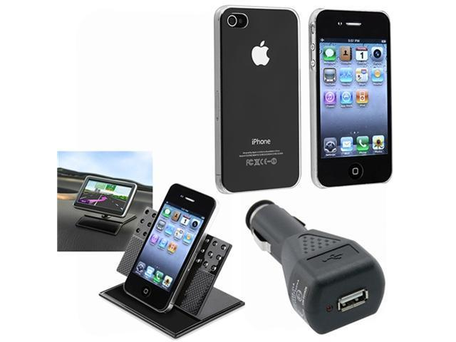 Clear Crystal Snap-On Back Hard Case Cover+Charger+Car Mount For iPhone® 4 4G 4S