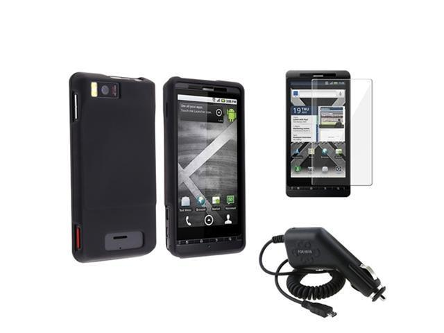 Black Hard Skin Cover Case+Screen Protector+Car Charger compatible with Motorola Droid X2
