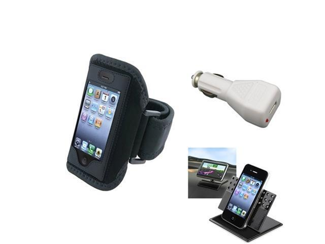 Armband Sportband Black Cover Case+Charger+Car Holder Mount For iPhone® 4 4S