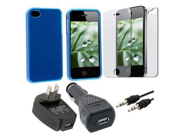 for VERIZON iPhone® 4 G FILM+CASE+CABLE+CAR+AC CHARGER