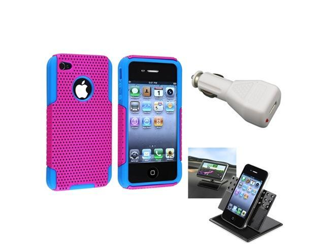 Hybrid Blue Pink Hard Case Cover+Car Charger+Dashboard Mount For iPhone® 4 4G 4S