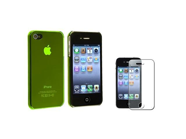 Clear Yellow Slim Hard Clip-on Cover Case+Diamond Film Protector Compatible With iPhone® 4 4S