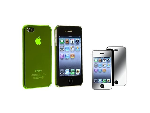 Clear Yellow Slim Hard Snap-on Cover Case+MIRROR Guard Protector Compatible With iPhone® 4 4S