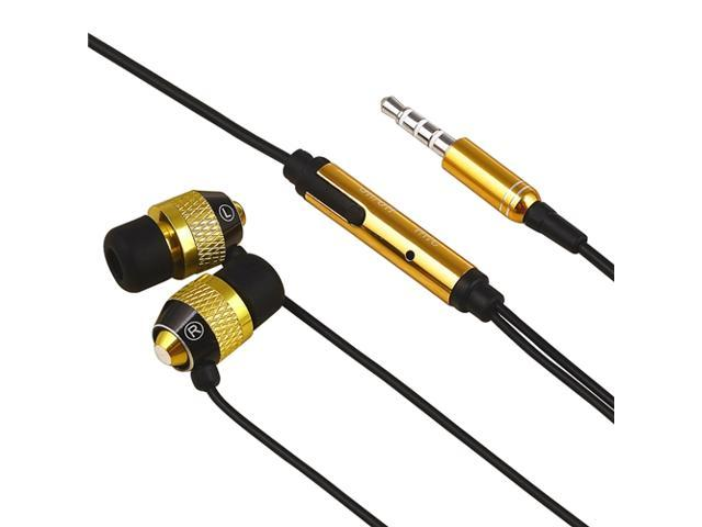Gold Black Stereo Headset with Built-in Microphone and Click Hold Button Compatible with Apple® iPhone 3G and iPhone 3GS 3G iPhone 4S - AT&T, ...