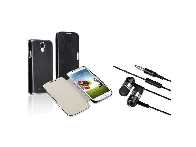 eForCity Black with Magnetic Flap Leather Case with FREE Black / Chrome Silver In-ear (w/on-off) & Mic Stereo Headsets Compatible with Samsung© ...