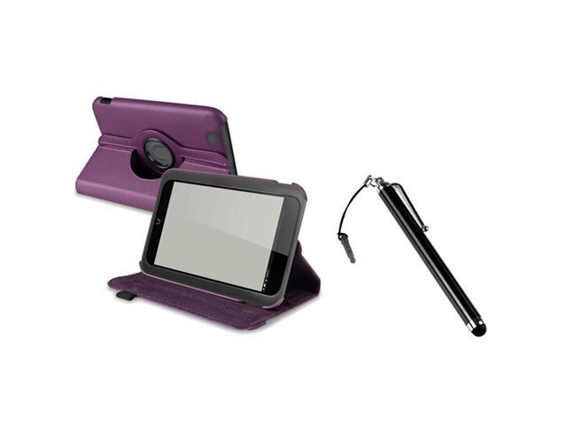 eForCity Purple 360-degree Swivel Leather Case + Touch Screen Stylus Black Compatible with Barnes & Noble Nook HD