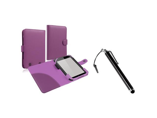 eForCity Purple Leather Case + Touch Screen Stylus Black Compatible with Barnes & Noble Nook HD