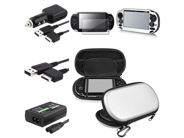 eForCity Silver EVA Case+Silver Aluminum Case+Guard+USB+Car Charger+Adapter For PS Vita
